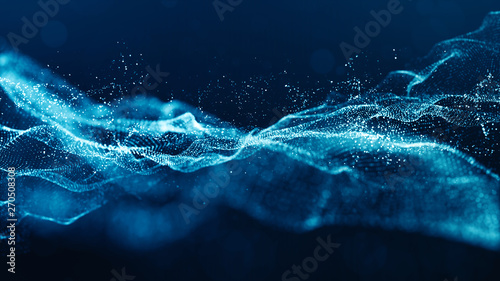 Cadres-photo bureau Abstract wave Abstract blue color digital particles wave with bokeh and light background