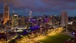 kuala lumpur cityscape central palace square downtown evening illumination aerial panorama 4k timelapse malaysia