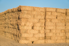 Massive Stack Of Dried Hay Bails