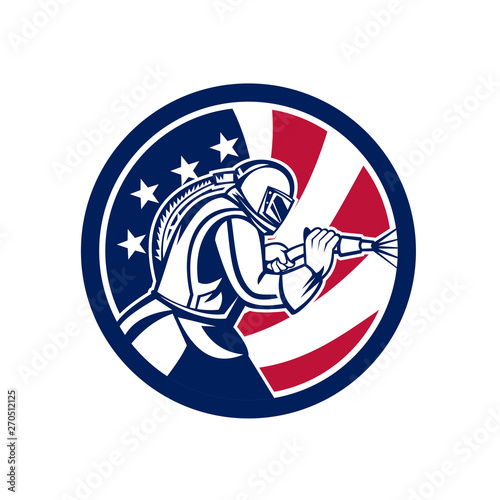 Photo Mascot icon illustration of an American sandblaster or sand blaster abrasive blasting viewed from side set inside circle with USA stars and stripes flag on isolated background in retro style