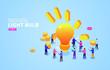 Brainstorming, creative crowd social gathering