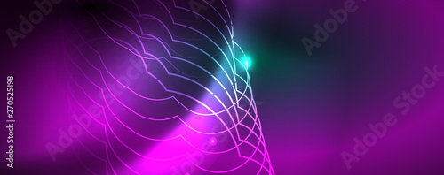 Fotobehang Fractal waves Shiny glowing design background, neon style lines, technology concept, vector