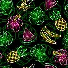 Seamless Pattern With Neon Summer Icons: Pineapple, Banana, Monstera Leaf And Hibiscus On Black Background. Exotic, Tropical, Food Concept. Vector 10 EPS Illustration.