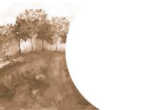 Watercolor Countryside Landscape. Brown Color, Monochrome, Sepia. Night Landscape. Suburban Landscape, Silhouette Of Trees - Maple, Aspen, Birch, Oak, Rowan. Field, Meadow. Watercolor Cover,card.