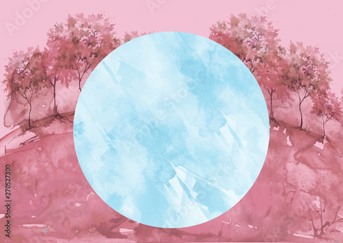 Photo Stands Candy pink Watercolor vintage bush, a tree,field, meadow. pink, purple silhouette of trees against the background of sunset, sunrise. Vintage illustration. Watercolor landscape, forest. Round label element