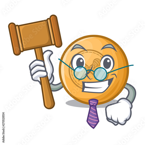 Judge lacrosse ball above wooden cartoon table Fototapet