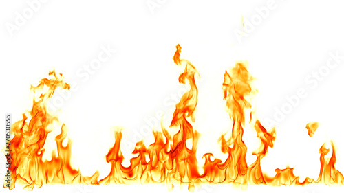Fotografiet  Fire flames isolated on white background.