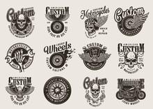Vintage Monochrome Motorcycle Emblems