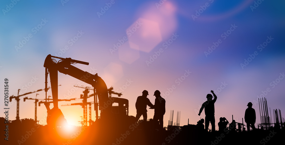 Fototapety, obrazy: Silhouette of engineer and construction team working at site over blurred background for industry background with Light fair.Create from multiple reference images together