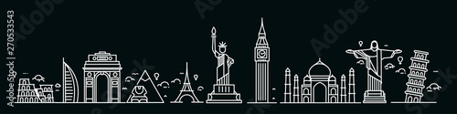 Fototapety, obrazy: Travel the world monument concept - Flat Line Art Design.