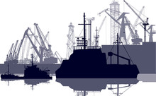 Ships And Cranes In Seaport Isolated On White
