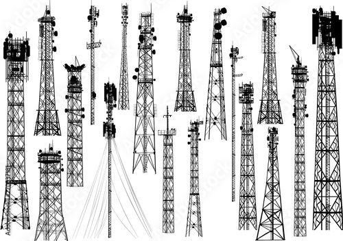 Photo group with eighting antenna towers on white