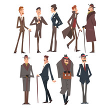 Self Confident Victorian Gentlemen Characters Set, Rich And Successful Men In Elegant Suits Vector Illustration