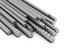 Iron Construction Bars Isolated On White Background. 3D Illustration