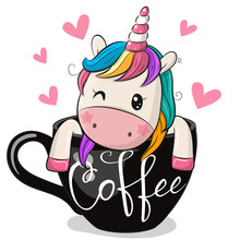 Cartoon Unicorn Is Sitting In A Cup Of Coffee