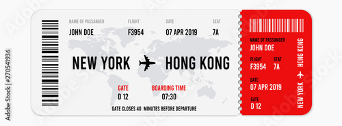 Photo Realistic airline ticket design with passenger name