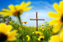 Close Up Wooden Cross On Flowe...