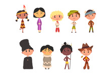 Kids In National Clothes, Boys And Girls Cartoon Characters In Traditional Costume Of American Indian, Japanese, American Cowboy, Eskimo, Russian, Australian Aboriginal, German Vector Illustration