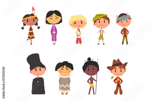 Kids In National Clothes Boys And Girls Cartoon Characters