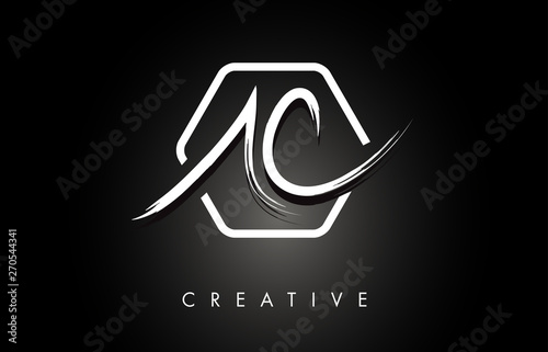 AC A C Brushed Letter Logo Design with Creative Brush Lettering Texture and Hexa Canvas Print