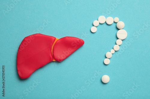 Obraz Human liver disease, cirrhosis, chronic inflammation. The concept of cancer treatment, hepatitis. - fototapety do salonu