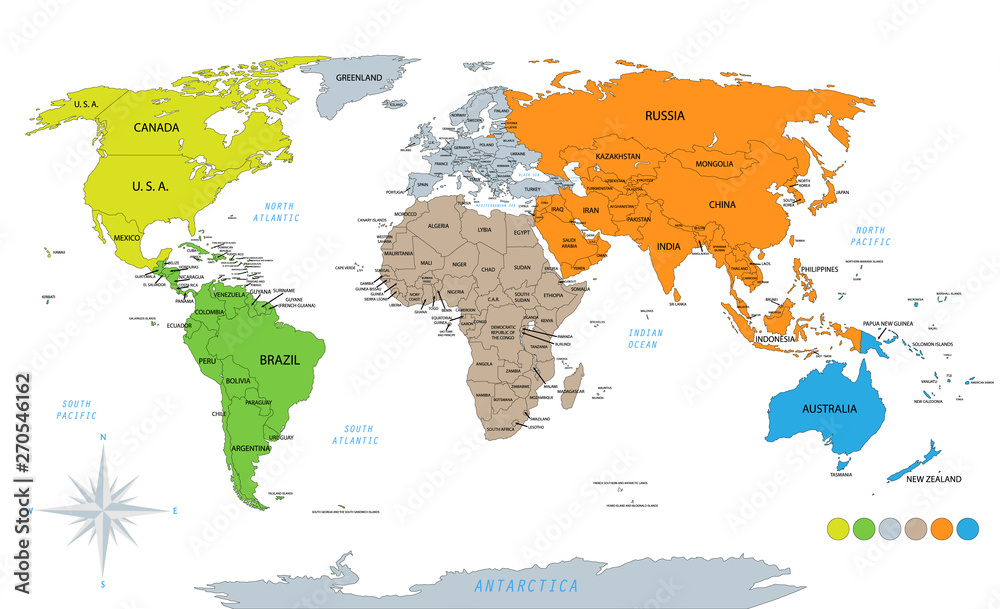 Fototapety, obrazy: Political world map on white background, with every state labeled and selectable. Colored by continents. Versatile file, turn on an off visibility and color of each country in one click.