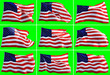 Leinwanddruck Bild - Conceptual group of waving American flags isolated over green background in a row