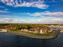 Aerial View Of Urk With Its Lighthouse A Small Town On The IJsselmeer