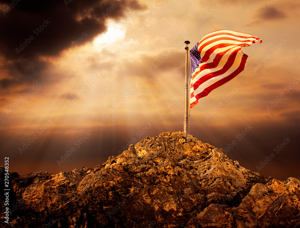 Fototapety, obrazy: Conceptual image of waving American flag at tall pole over cloudy sunset sky