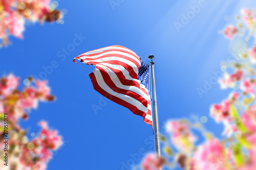 close up waving American flag and flowers over blue clear sky - 270550178