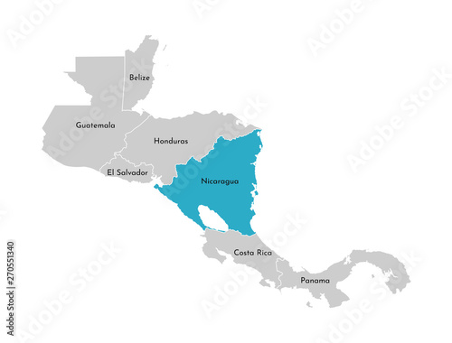 Fototapeta Vector illustration with simplified map of Central America region with blue contour of Nicaragua
