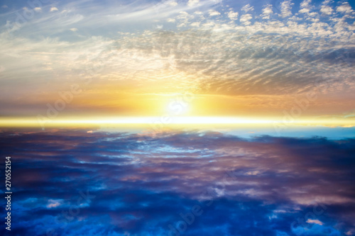 Fototapety, obrazy:   Beautiful heavenly landscape with the sun in the clouds  .