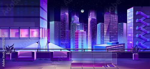 Poster Violet Hotel or restaurant lounge zone or terrace, observation desk with beautiful view on night city downtown cartoon vector background. Downstairs, comfortable armchairs on skyscraper roof illustration