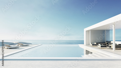 Fotomural beach lounge outdoor pool & luxury interior/ 3D rendering