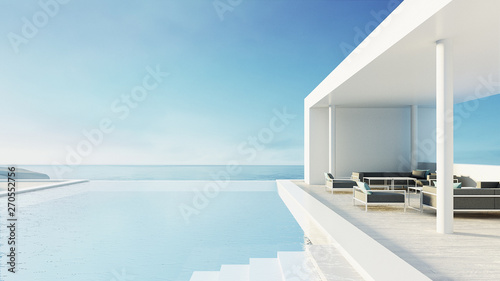 Stampa su Tela beach lounge outdoor pool & luxury interior/ 3D rendering