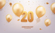 20th Anniversary celebration. 3D Golden numbers with confetti and balloons.