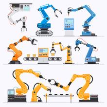 Robotic Arm Industrial. Vector...