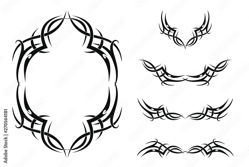 Fototapeta Set of five tribal tattoos (with frame and borders). Isolated black vector illustration on white background