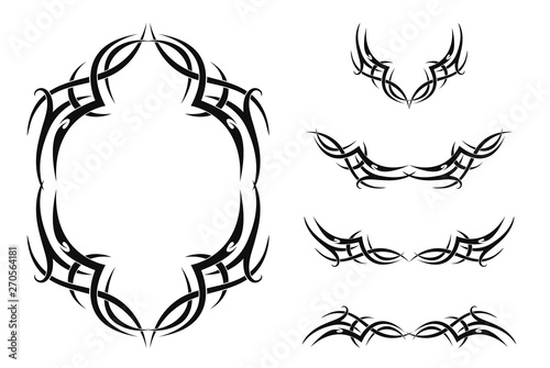 Fotografie, Obraz Set of five tribal tattoos (with frame and borders)