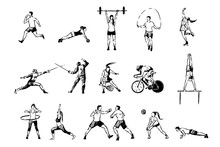 Men And Women Working Out, Cycling, Professional Figure Skating, Fencing, Boxing, Tennis Game, Sport Activities Set