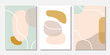 Modern templates with abstract shapes in pastel colors. Contemporary collage style for wedding invitations, flyers, cards, poster, magazine cover, etc.