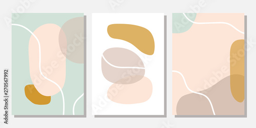 Modern templates with abstract shapes in pastel colors. Contemporary collage style for wedding invitations, flyers, cards, poster, magazine cover, etc. - 270567992