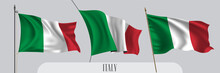 Set Of Italy Waving Flag On Is...