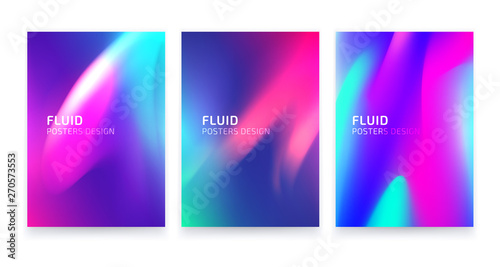 Fototapety, obrazy: Trendy colorful posters set design, fluid geometric abstract shapes