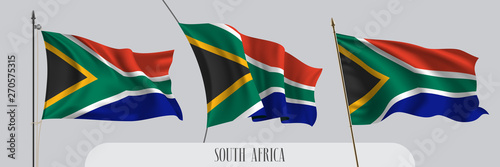 Fotografía Set of South Africa waving flag on isolated background vector illustration