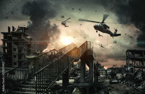 Foto op Plexiglas Helicopter Military Helicopters & forces in destroyed city, houses and cars at Unfair war/Aerial bombardment