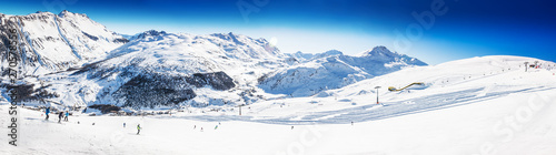 LIVIGNO, ITALY - Feb. 2019 - Skiers skiing in Carosello 3000 ski resort, Livigno, Italy, Europe - 270578556