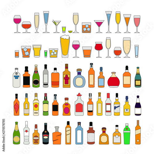 Set of alcohol drinks in glasses isolated on white background vector illustration Canvas Print