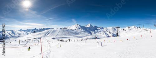 Fotomural Skiers skiing in Carosello 3000 ski resort, Livigno, Italy, Europe