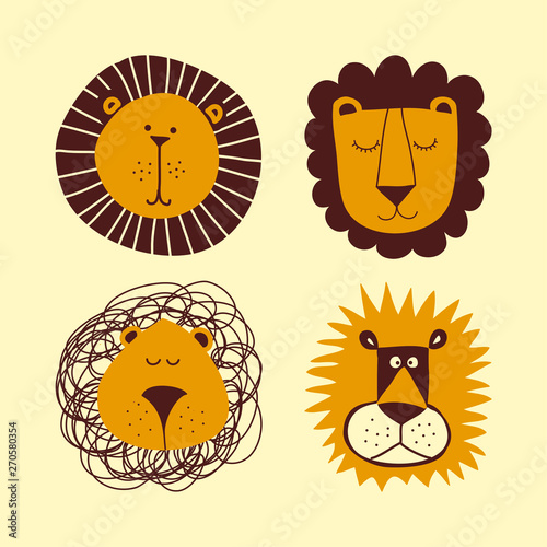 Lion bundle set - funny vector character drawing Wallpaper Mural